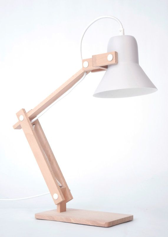 Pixoss desklamp by StudioMOSSdesign on Etsy wooden table lamp cool! I love it  White