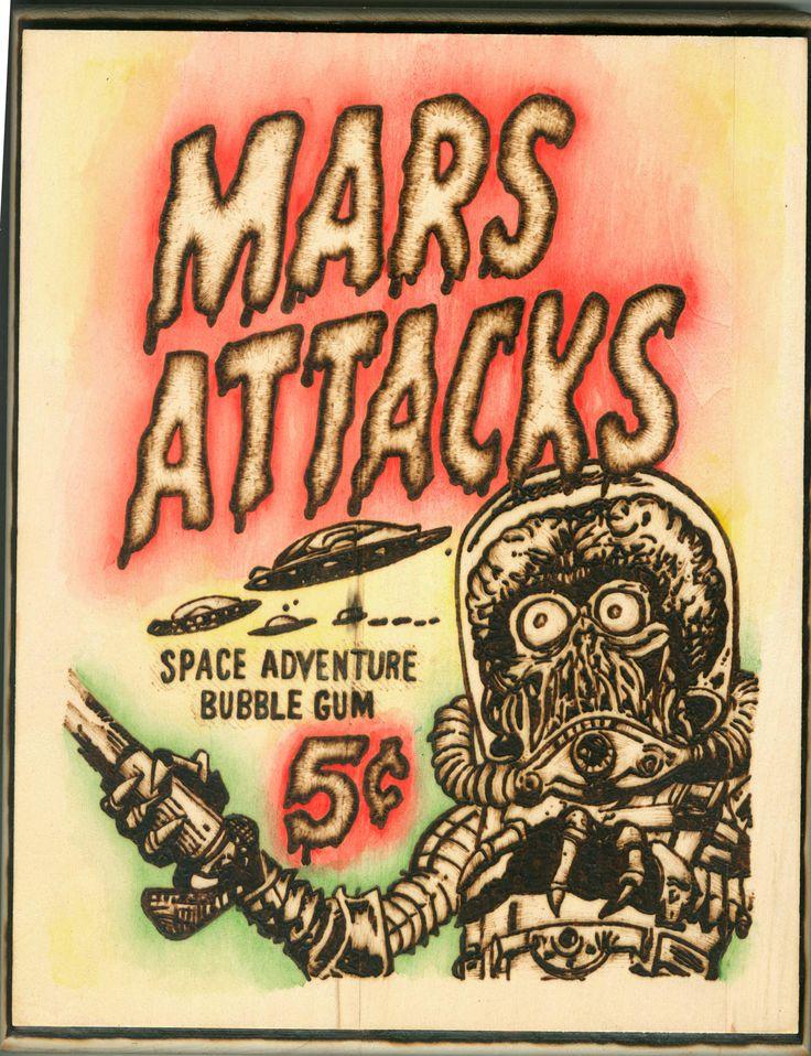 "Mars Attacks, 8"" x 10"" Wood Burning, May 2016"