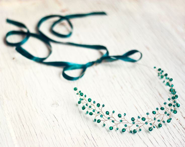 Gold crown headband, Emerald headband, Hair vines, Hair accessories, Bridal headband green, Tiara, Vine headband, Headband wedding, Halo. by ArsiArt on Etsy https://www.etsy.com/listing/161466710/gold-crown-headband-emerald-headband