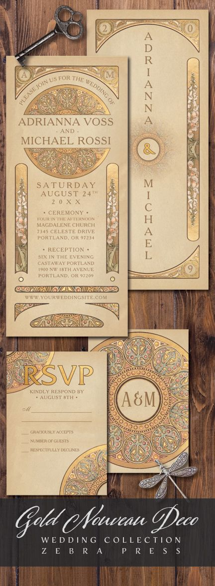 what should an evening wedding invite say%0A Gold Nouveau Deco Wedding Invitations from Zebra Press  nouvea  wedding   invitations  vintage