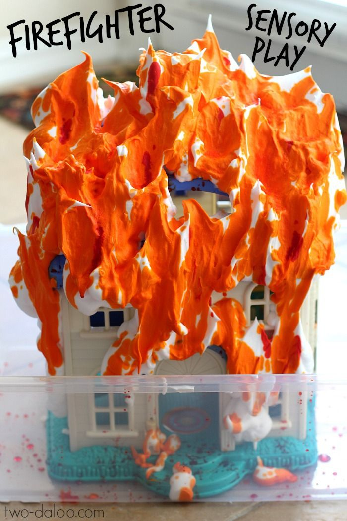 Firefighter Sensory Play -need play house, shaving foam, orange paint, water in a spray bottle or shampoo bottle. Plus the fire engine and crew of course.