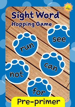 Teaching pre-primer level sight words with dino foot prints.I used to play this game with my kids. They loved it. Now I play this game with my kindies. Print and tape them to the floor. You might want to laminate them first for longer use.Then all you have to do is name a word, and kids will have to try finding the right word, and hop on to it.This set contains:~ 40 sight word foot prints, based on Dolch word list. * the* to* and* I* you* it* in* said* for* up* look* is* go* we* little…