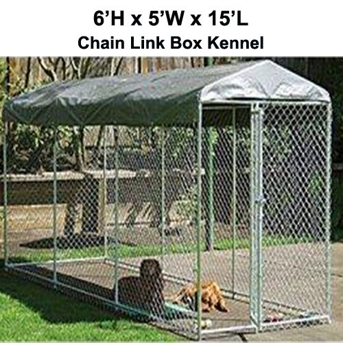 Chain+Link+Dog+Cage | ... Box Kennel – 6'H x 5'W x 15'L – Chain Link Dog Kennel