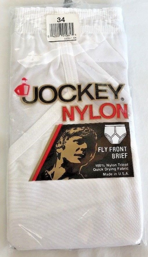 f23bc64f8 NOS Vintage 80s Jockey Nylon Brief Size 34 Fly Front White Tricot Underwear  USA  Hanes  Brief