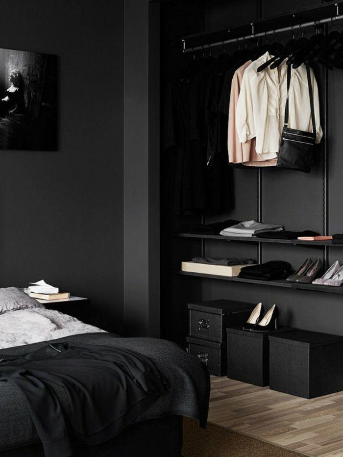 wanfarben ideen schwarze wandfarbe schlafzimmer. Black Bedroom Furniture Sets. Home Design Ideas