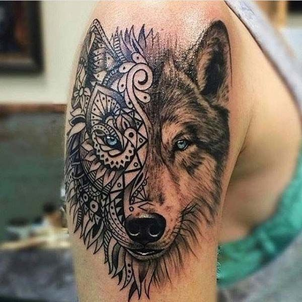tribal wolf tattoo