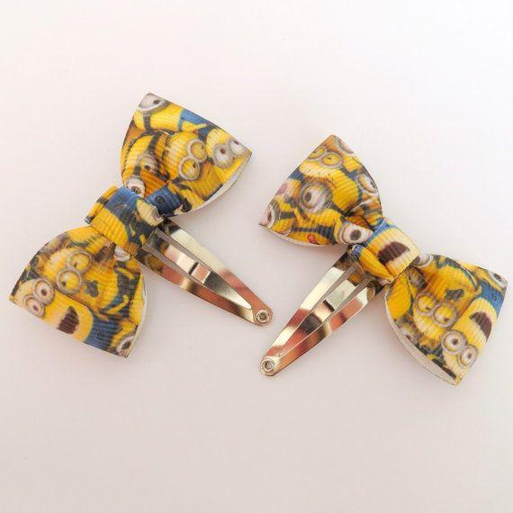 Pair of Minion Hair Bows Snap clips minion by ZwKaHandCrafts