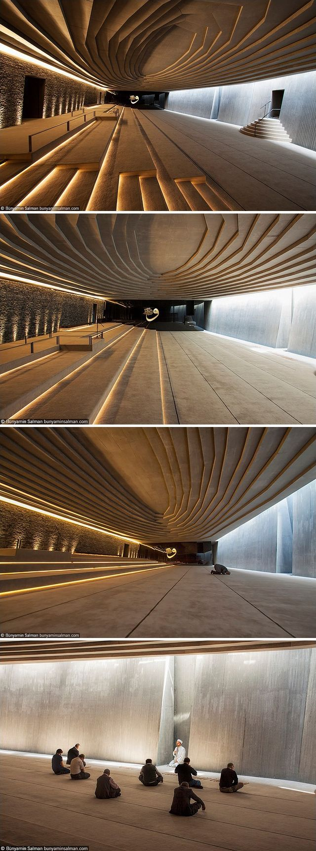 The main hall of Sancaklar Mosque in Istanbul, Turkey. A simple, cave-like space 7 meters below ground with exposed stone and concrete walls. Designed by Emre Arolat Architects (EAA) and built in 2011. Photos by Bünyamin Salman, via Flickr.: