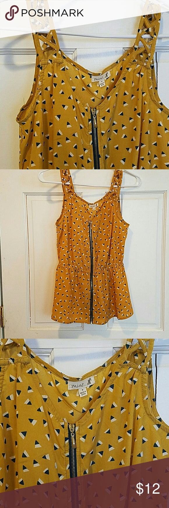 Zip up triangle pattern tank Very cute, mustard colored tank with blue and white triangles.  Zips up with cute strappy straps. Excellent condition! Mine Tops Tank Tops
