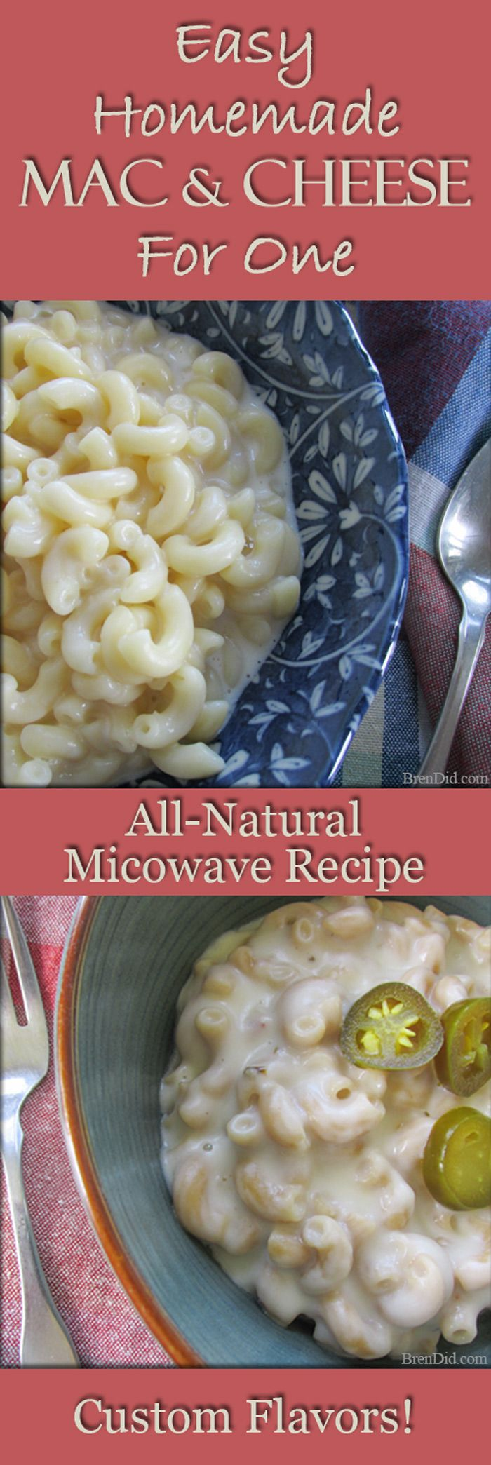 Easy Homemade Mac and Cheese for One | EASY recipe for single serve microwave mac and cheese. Make it at home in 6 minutes. Eliminate artificial ingredients without sacrificing convenience. http://brendid.com/easy-homemade-mac-and-cheese-for-one/