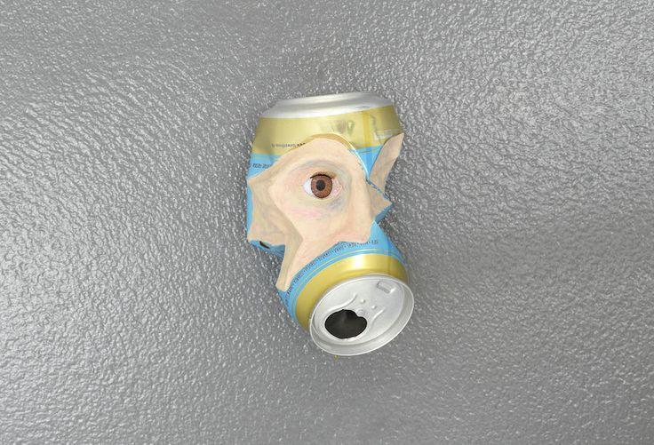 """Martin Soto Climent Unknown Löwenbräu 2014 plasticine and plastic eye on beer can / plastilina ed occhio in plastica su lattina di birra 13 x 8 x 8 cm (5 ⅛"""" x 3 ⅛"""" x 3 ⅛"""") Unique Photo by Roberto Apa  Courtesy the Artist and T293, Naples/Rome"""