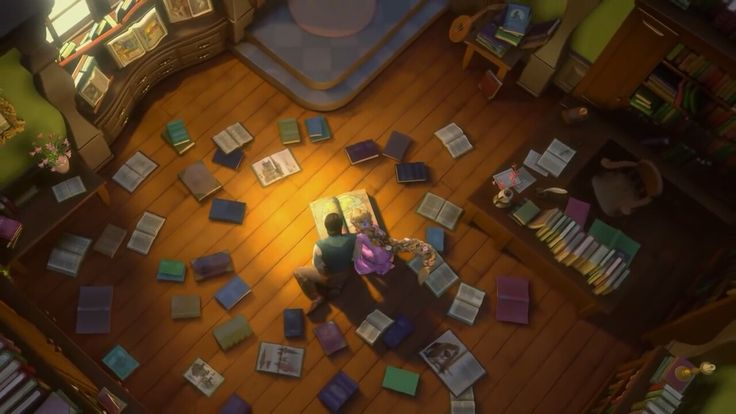 Rapunzel and Eugene in library Tangled