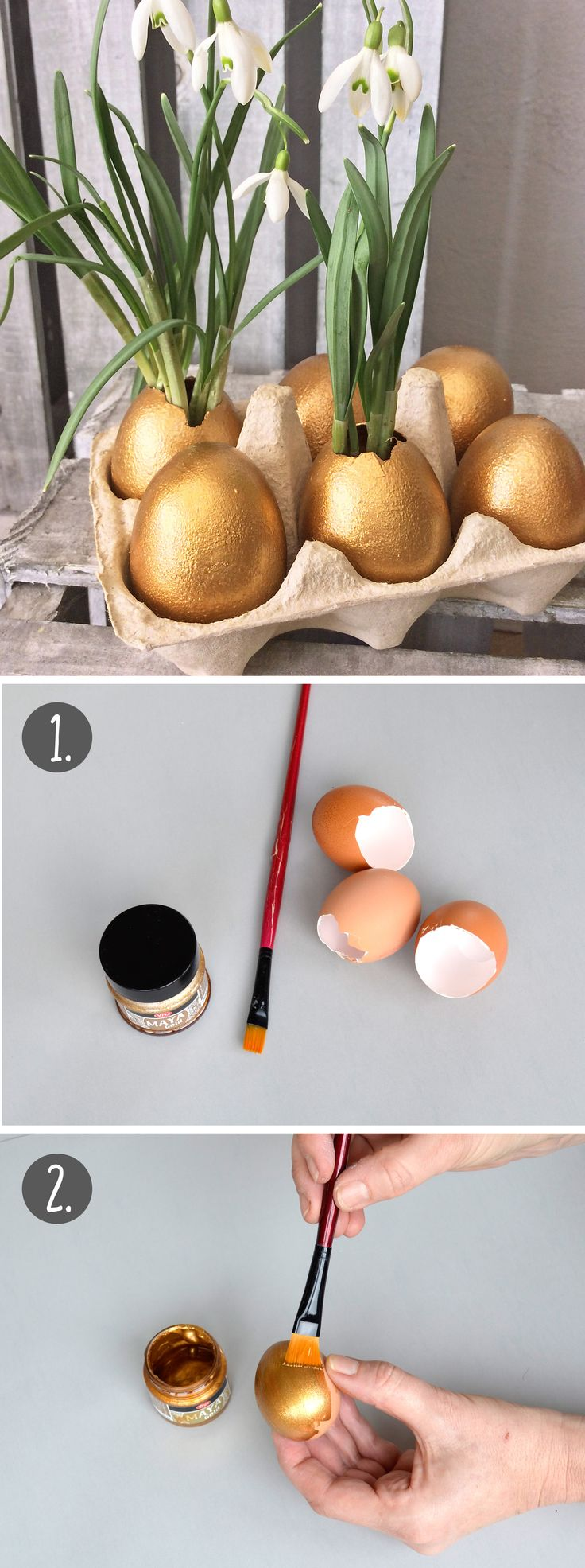 Goldene Ostern - so schnell, so schön! So werden Eier, gestaltet mit Maya-Gold, zum edlen Pflanzgefäß. Im klassischen Eierkarton wirken die Mini-Vasen besonders edel.
