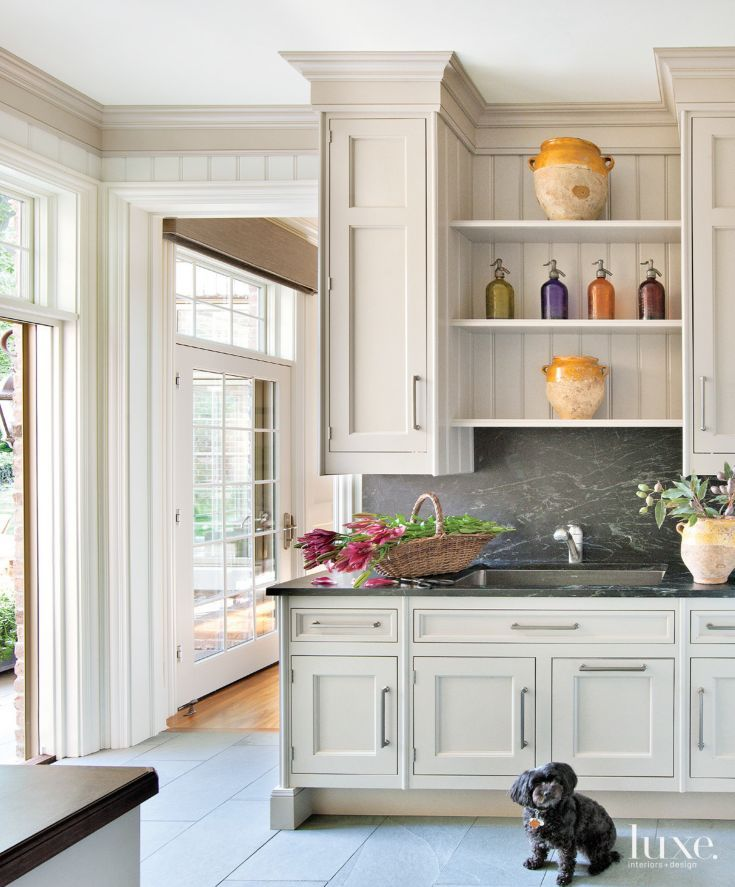 Transitional Neutral Mudroom With Soapstone Countertops