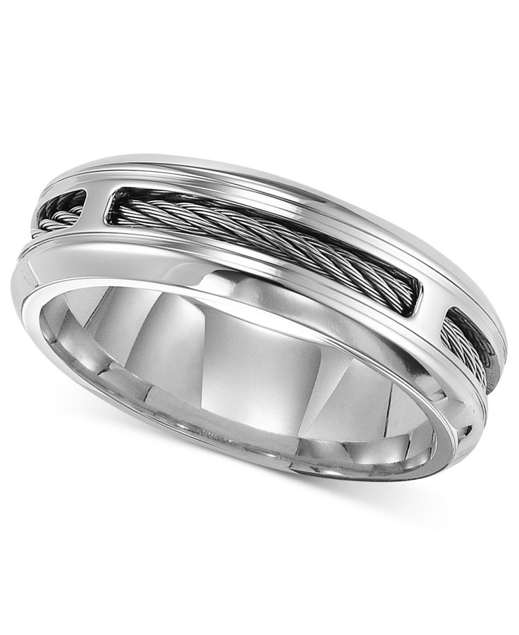 Triton Men's Stainless Steel Ring, Comfort Fit Cable Wedding Band - Rings - Jewelry & Watches - Macy's