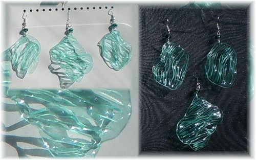This is in another language, but does have a slide show of many lovely pieces.great .plastic bottle earrings. You cut and then use heat to shape the elements.