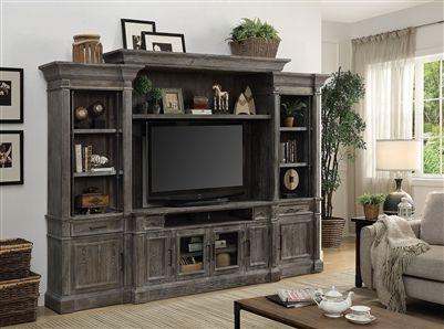 Gramercy Park 4 Piece Entertainment Wall in Vintage Burnished Smoke Finish by Parker House – GRAM-100-4