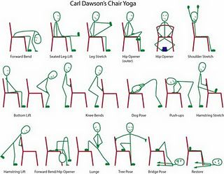 Chair Yoga - love my over-50 chair yoga class! It has helped ;me a lot with the pain from poor posture, in the neck and shoulders.