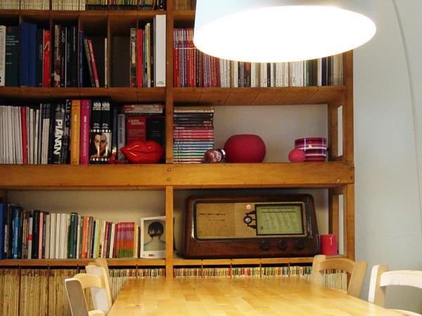 Loft Design #apartment #milan #italy #renovation #interiordesign #studio #desk #foscarini #lamp #twiggy #bookshelf