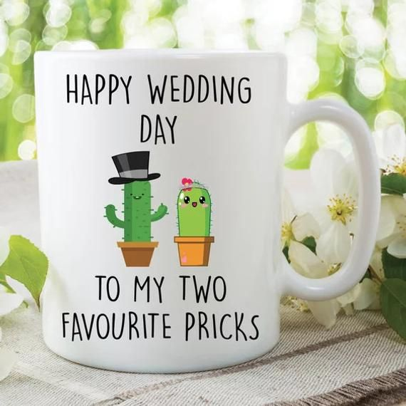 Wedding Gift for Bride and Groom Funny Coffee and Donut Wedding Card