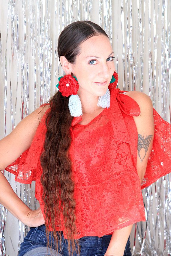 Red Lace Crop Top - Tropical Fashion Beach Cover Up Shirt by Mademoiselle Mermaid