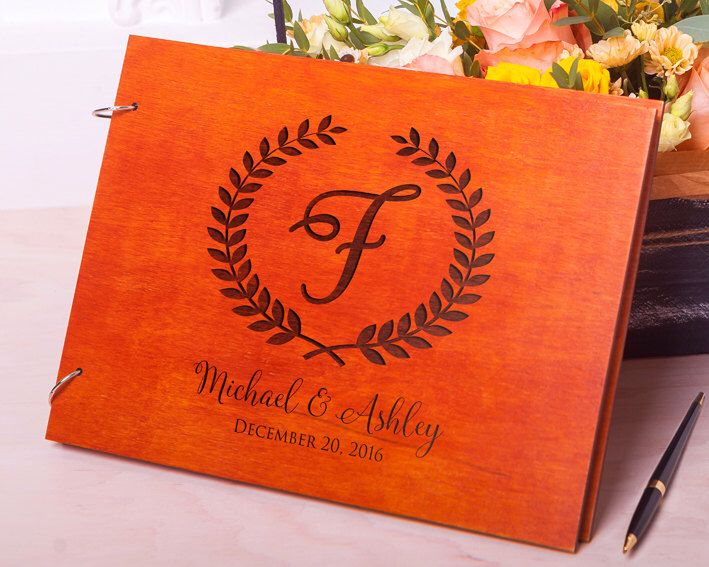 Guest book Wedding Rustic guestbook Wedding guest book Wood guestbook Laurel Leaves Custom Engraved Wedding album Rustic guest book Monogram by Oksis on Etsy https://www.etsy.com/listing/510547551/guest-book-wedding-rustic-guestbook