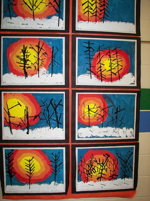 Kinder Winter Landscapes, via Flickr. Soooo if kindergarten can make such wonderful art so can we!