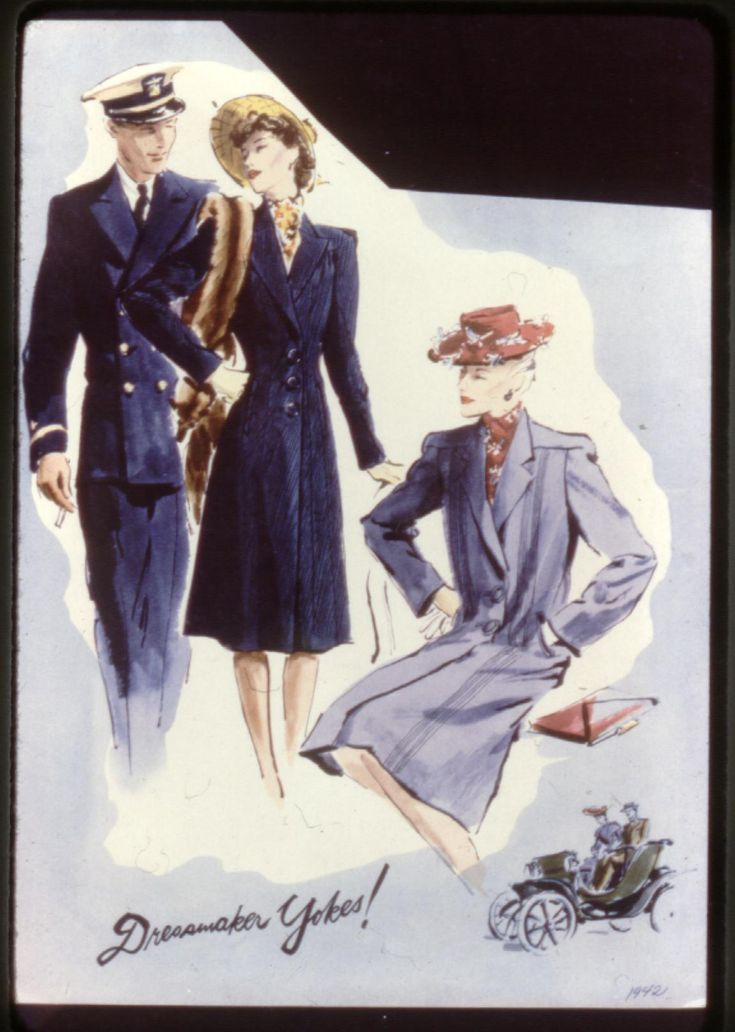 1940's   WWII 1939-1945, men in military attire. Women in single breasted garments,  wide padded shoulders, large buttons, knee length dresses.