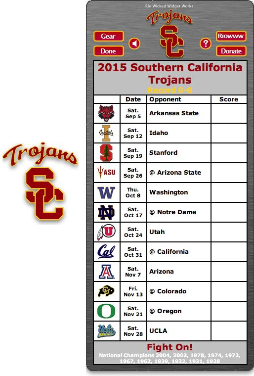 Free 2015 USC Trojans Football Schedule Widget for Mac OS X - Fight On! -   National Champions 2004, 2003, 1978, 1974, 1972, 1967, 1962, 1939, 1932, 1931, 1928 http://riowww.com/teamPages/USC_Trojans.htm