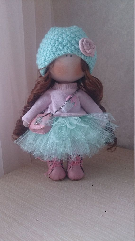 Tilda doll Handmade doll Fabric doll aqua brown color Soft doll Cloth doll Baby…