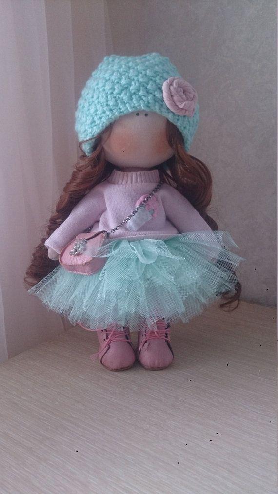 Tilda doll Handmade doll Fabric doll aqua brown color Soft doll Cloth doll Baby…