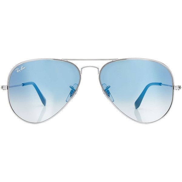 Ray-Ban Classic Aviators (€129) ❤ liked on Polyvore featuring accessories, eyewear, sunglasses, glasses, silver, aviator glasses, blue lens glasses, blue aviator sunglasses, beach sunglasses and ray ban glasses