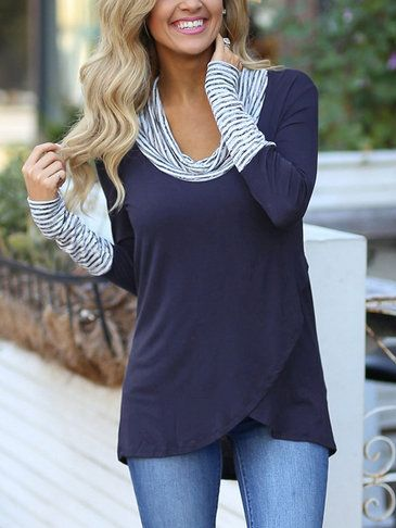 Seriously slouchyRoll Neck Stripe Details Overlay Front T-shirts from Yoins.Cozy + loose for easy layering over everything. Made from a softly fabric, lowcut roll neck + overlay irregular hem design.