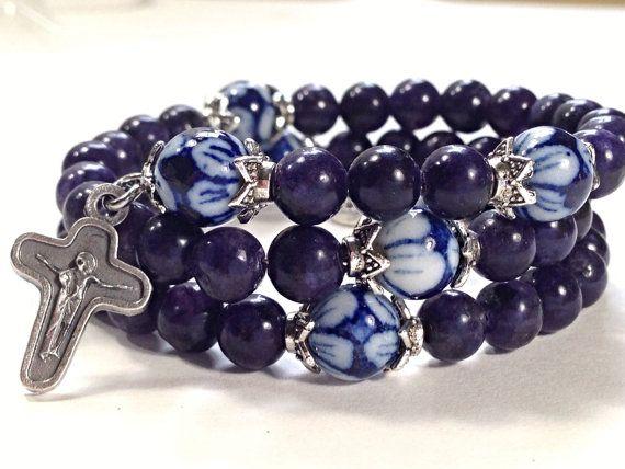 Blue Dumortierite & Porcelain, Stainless Steel, Memory Wire Rosary Bracelet    #rosary bracelet   #rosary bracelets
