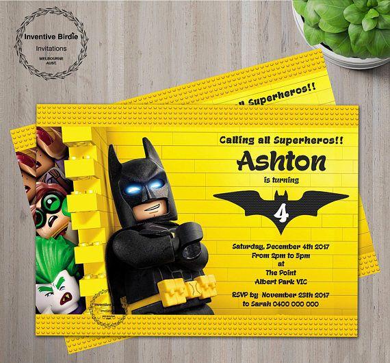 Batman Lego Invite With Free Thank You Card Lego Batman Birthday