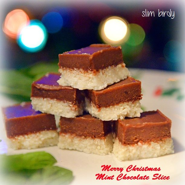 Healthy Peppermint Slice... refined sugar free, gluten free, grain free and totally delicious. Make it any time of the year, not just Christmas! http://slimbirdy.com/2014/12/19/healthy-peppermint-slice/ #sugarfree #iqs #weightloss