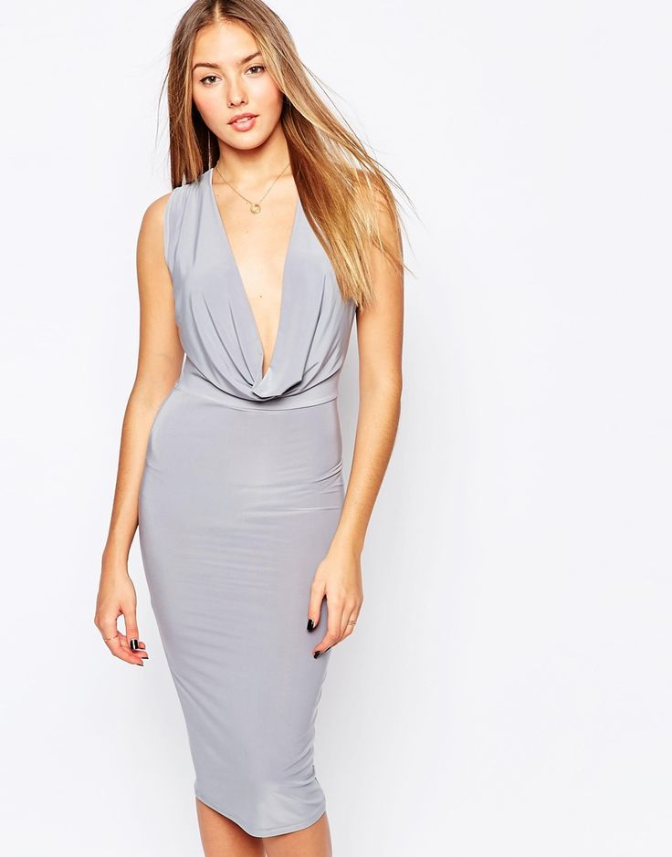 Image 1 ofClub L Slinky Midi Dress with Cowl Front