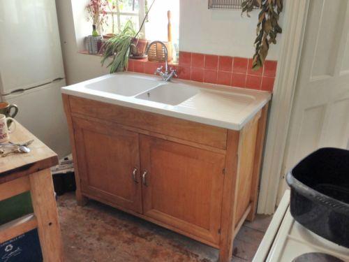 Habitat Wood Freestanding Kitchen Sink Unit Modern Farmhouse Butler Style  Taps | EBay
