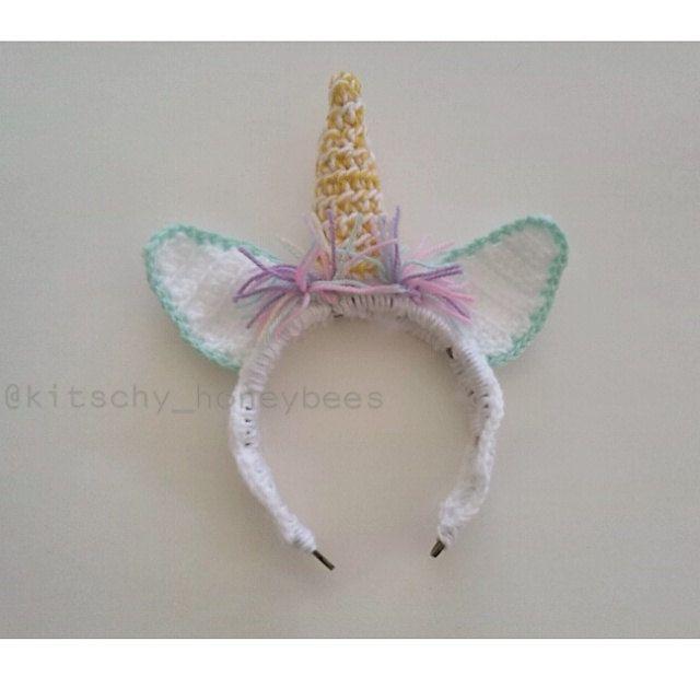 Unicorn headband, crochet unicorn headband by KitschyHoneybees on Etsy