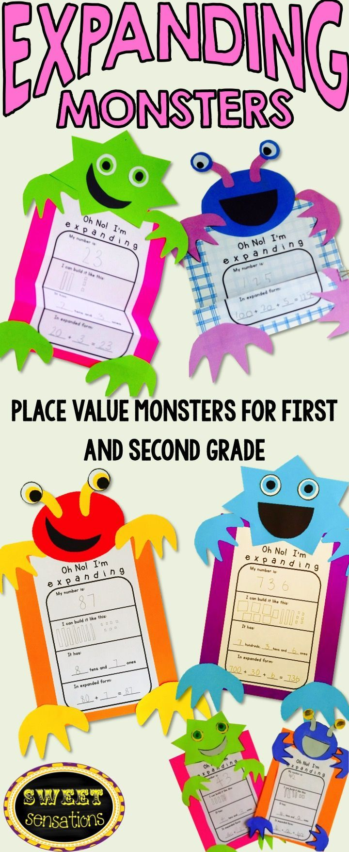 These monsters are the perfect way to demonstrate place value and expanded number form! Differentiated for two digit numbers for first grade and three digit numbers for second grade. Makes a great Halloween review craft activity!