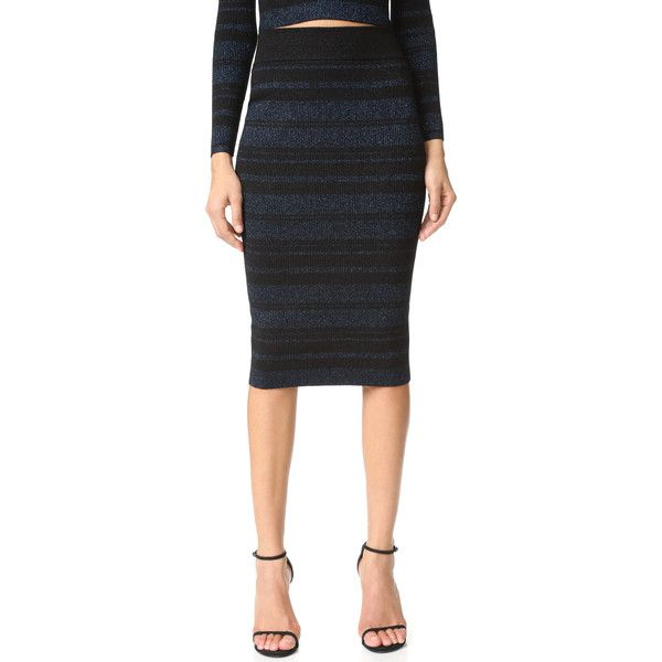 KENDALL + KYLIE Stripe Pencil Skirt (405 RON) ❤ liked on Polyvore featuring skirts, navy multi, striped pencil skirt, metallic pencil skirt, navy blue skirts, elastic waist skirt and navy striped skirt