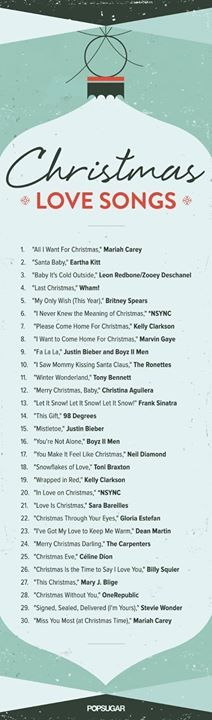 Christmas Advent Calendar: Day 20 - Top 3o Christmas Love Songs. Which is your favourite? Mine is number 13. I do like a bit of Frank Sinatra. #letitsnow