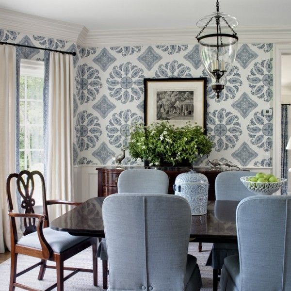 East Coast Sea Side Home · White Dining RoomsWhite RoomsPink WallpaperWallpaper  IdeasWallpaper ...