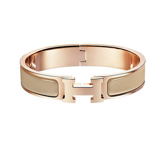 Clic H Hermes narrow enamel bracelet Rose gold plated hardware, 2.5
