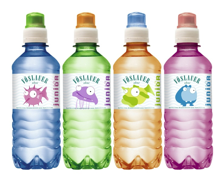 Vöslauer mineral water for Kids. Cool thing: The fish are stickers to collect.