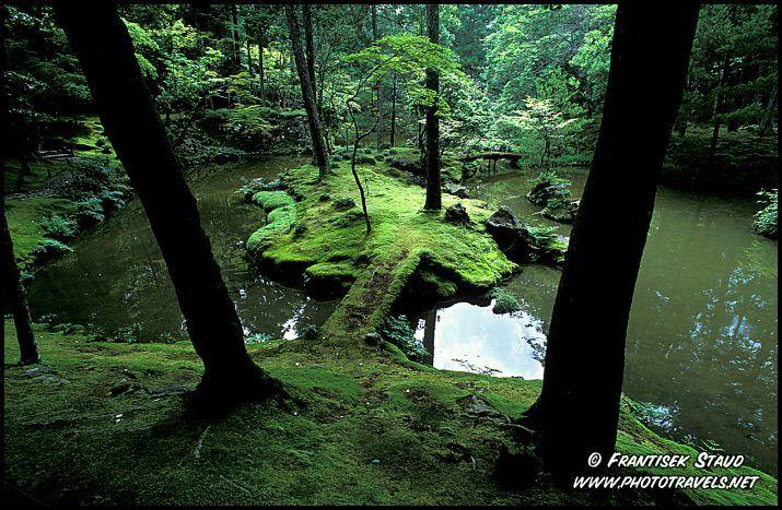 Photograph of Zen garden of Saiho-ji Temple (known as Kokedera – Moss Temple), Kyoto, Japan photo