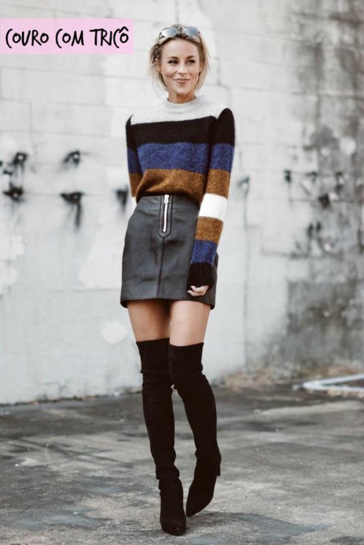 SAIA DE COURO com tricô - combinando saia no frio