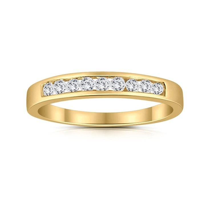 1/4ctw Diamond Channel Wedding Band in 10k Yellow Gold: Amazon.ca: Jewelry