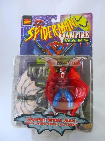 トイビズ社1996年製VAMPIRE WARSシリーズのヴァンパイア・スパイダーマンサイズ:全高約130mm腕からコウモリが飛び出すおもちゃです。(未開封・未使用の為、動作確認・動作保証はいたしていません)新品未開封・未使用で数年飾っていただけの品になります。1996年製の為、箱に多少の傷・折れ・日焼けはございますが、状態は良い方だと思います。神経質の方は、ご遠慮ください。ノークレーム・ノーリターンでの出品となりますのであらかじめ、ご了承ください。