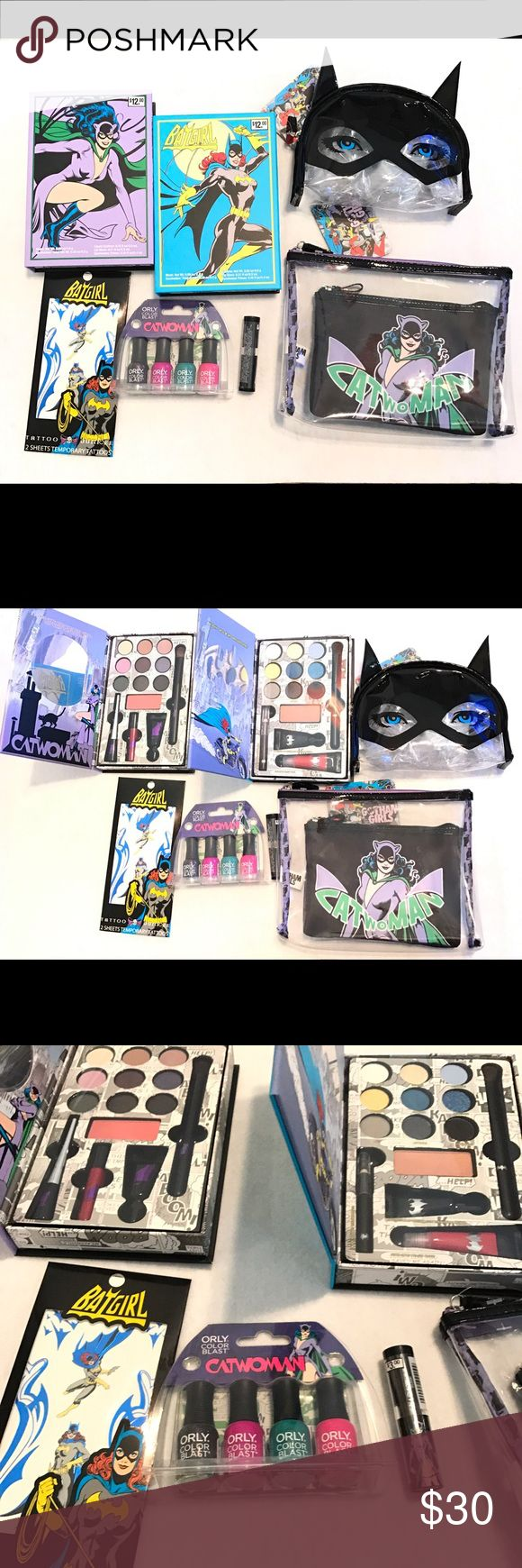 DC Super Hero Makeup set All brand new Cat women, Bat girl makeup sets and bags. Eye shadow, blush, lip gloss palette, orly 4 piece nail polish set, cat women mask makeup bag, cat women makeup bag that's includes two, bat girl lipstick and bat girl tattoos. Great as a Christmas gift or stocking stuffers. Makeup